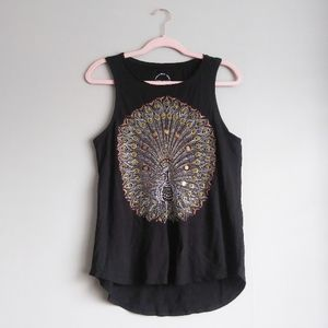 Lucky Brand Embellished Peacock Black Tank